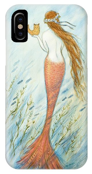 Catfish iPhone Case - Mermaid And Her Catfish, Goldie by Tina Obrien