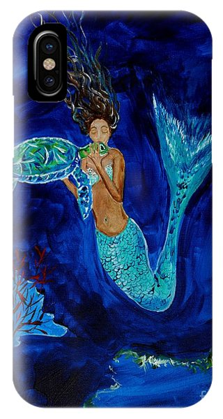 Mermaid And The Sea Turtle IPhone Case