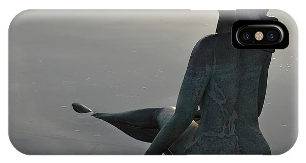 Mermaid Bronze Statue In The Faro Marina IPhone Case