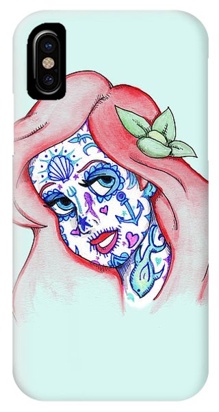 Mermaid iPhone Case - Mermaid Sugar Skull by Ludwig Van Bacon