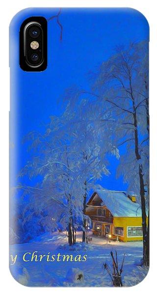 Merry Christmas Cabin Digital Art IPhone Case