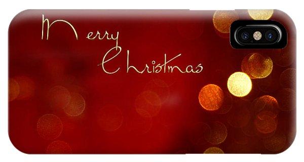 Merry Christmas Card - Bokeh IPhone Case