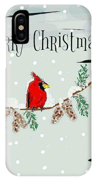 Merry Christmas Cardinal IPhone Case