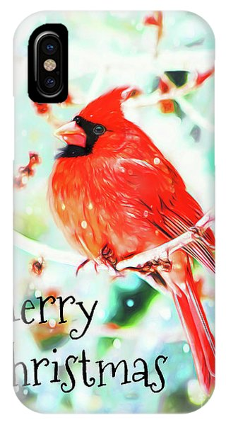 Merry Christmas Cardinal IPhone Case
