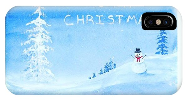 Holiday iPhone Case - Merry #christmas Snowman Available On by Darice Machel McGuire