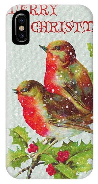 Merry Christmas Snowy Bird Couple IPhone Case