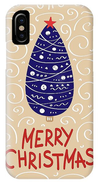 IPhone Case featuring the digital art Merry Christmas With Tree 2 by Christopher Meade