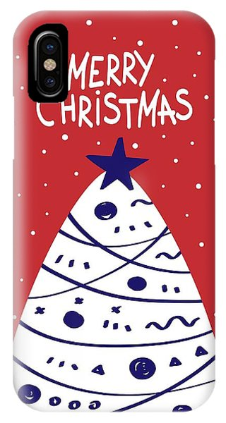 IPhone Case featuring the digital art Merry Christmas With Tree by Christopher Meade