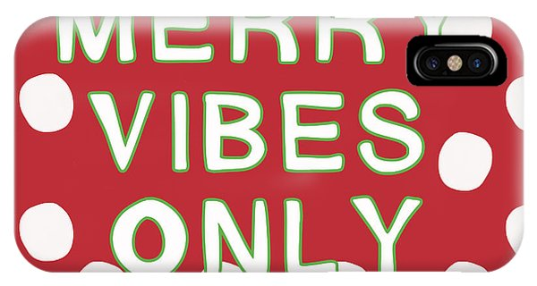 Holiday iPhone Case - Merry Vibes Only Polka Dots- Art By Linda Woods by Linda Woods