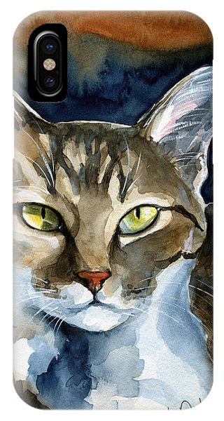 Mesmerizing Eyes - Tabby Cat Painting IPhone Case