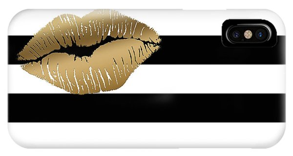 Metallic Gold Lips Black And White Stripes IPhone Case