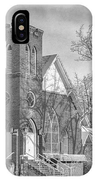 IPhone Case featuring the photograph Methodist Church In Snow by The Couso Collection