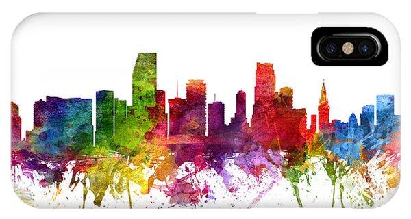 Miami Skyline iPhone Case - Miami Cityscape 06 by Aged Pixel