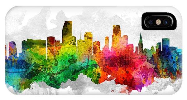 Miami Skyline iPhone Case - Miami Florida Cityscape 12 by Aged Pixel