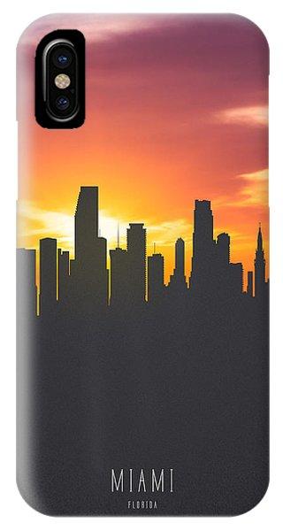 Miami Skyline iPhone Case - Miami Florida Sunset Skyline 01 by Aged Pixel