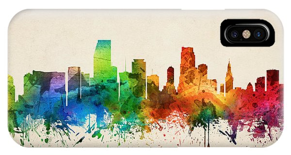 Miami Skyline iPhone Case - Miami Florida Skyline 05 by Aged Pixel