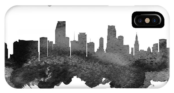 Miami Skyline iPhone Case - Miami Florida Skyline 18 by Aged Pixel