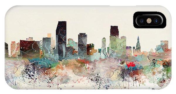 Florida iPhone Case - Miami Florida Skyline by Bri Buckley
