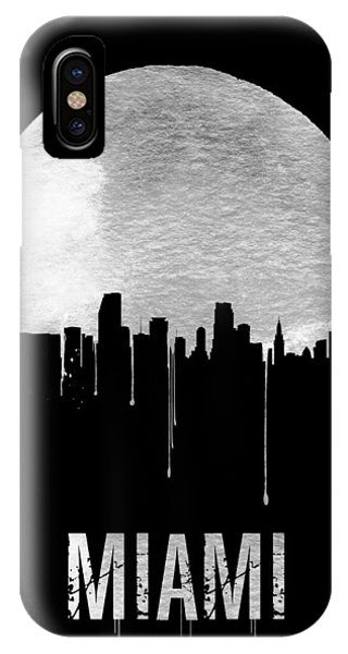 Miami Skyline iPhone Case - Miami Skyline Black by Naxart Studio
