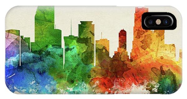 Miami Skyline iPhone Case - Miami Skyline Panorama Usflmi-pa03 by Aged Pixel