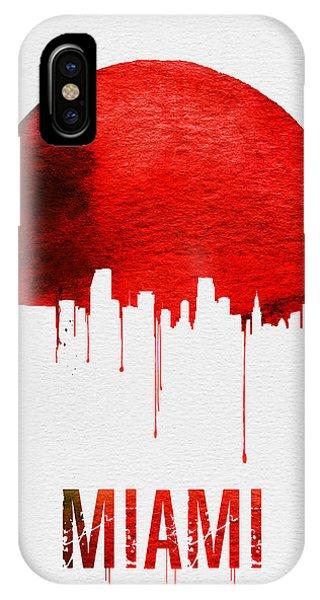 Miami Skyline iPhone Case - Miami Skyline Red by Naxart Studio