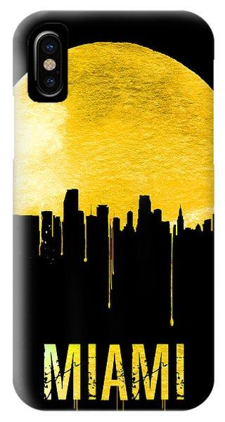 Miami Skyline iPhone Case - Miami Skyline Yellow by Naxart Studio
