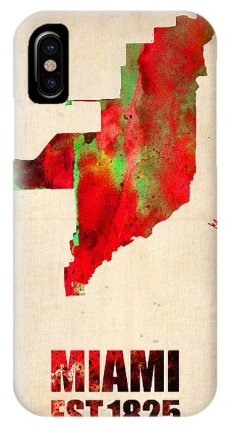 Miami Watercolor Map IPhone Case