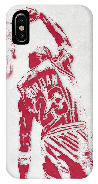 Tickets iPhone Case - Michael Jordan Chicago Bulls Pixel Art 1 by Joe Hamilton