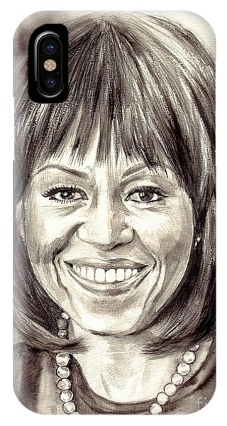 Clayton iPhone Case - Michelle Obama Watercolor Portrait by Suzann Sines