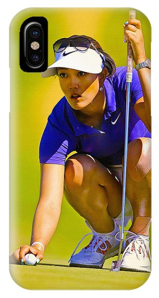 Michelle Wie Lines Up Her Putt  IPhone Case