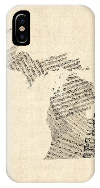 Michigan Map, Old Sheet Music Map IPhone Case