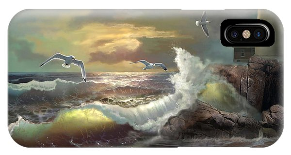 Michigan Seul Choix Point Lighthouse With An Angry Sea IPhone Case