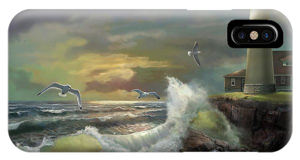 Seagull iPhone Case - Michigan Seul Choix Point Lighthouse With An Angry Sea by Regina Femrite
