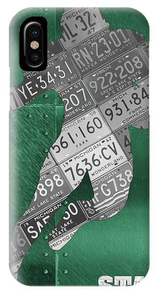 Running Back iPhone Case - Michigan State Spartans Running Back Recycled Michigan License Plate Art by Design Turnpike
