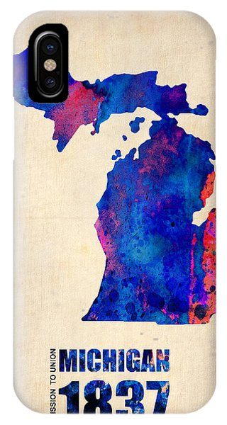 Michigan Watercolor Map IPhone Case