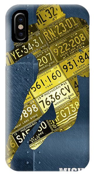 Running Back iPhone Case - Michigan Wolverines Running Back Recycled Michigan License Plate Art by Design Turnpike