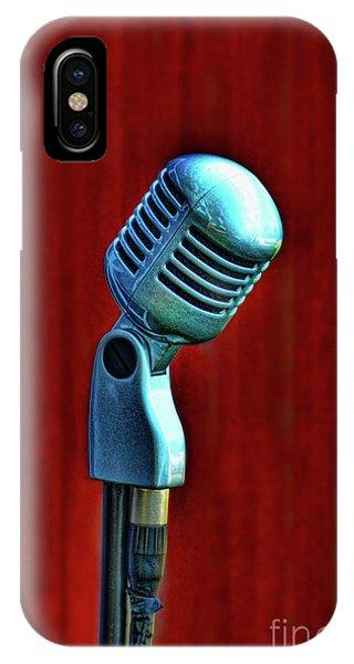 Background iPhone Case - Microphone by Jill Battaglia