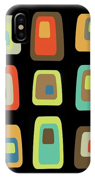 IPhone Case featuring the digital art Mid Century Modern Oblongs On Black by Donna Mibus