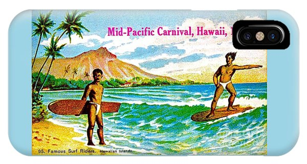 Mid Pacific Carnival Hawaii Surfing 1915 IPhone Case