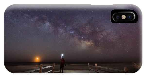 Explorer iPhone Case - Midnight Explorer Moonrise Milky Way At The Jersey Shore by Michael Ver Sprill