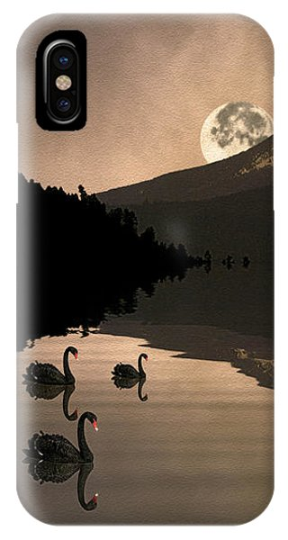 Midnight Moods Swan Lake In The Moonlight IPhone Case