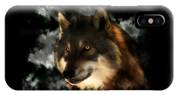 Midnight Stare - Wolf Digital Painting IPhone Case