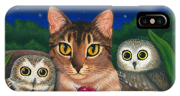 Midnight Watching - Abyssinian Cat Saw Whet Owls IPhone Case