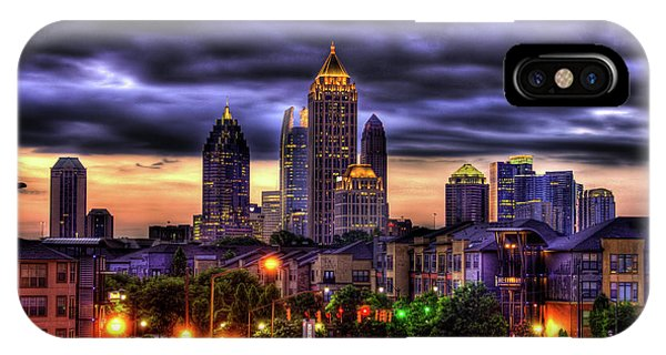 Midtown Atlanta Towers Over Atlantic Commons Art IPhone Case
