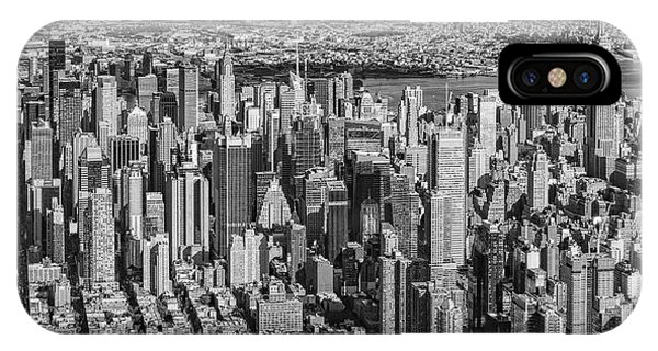 Midtown Manhattan Nyc Aerial View Bw IPhone Case