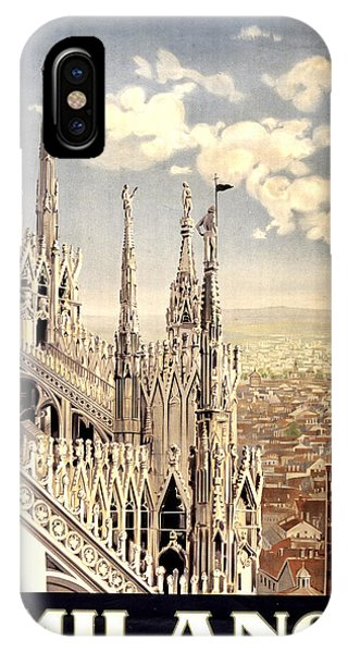 Gothic iPhone Case - Milano Travel Poster - Milano Cathedral, Italy - Retro Travel Poster - Vintage Poster by Studio Grafiikka
