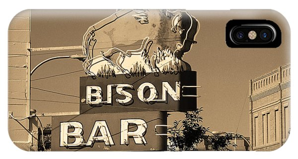 Miles City, Montana - Bison Bar Sepia IPhone Case