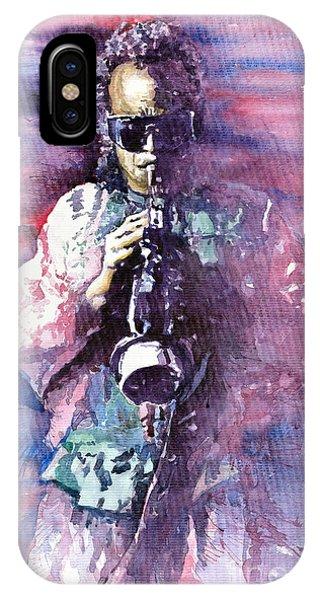 Portret iPhone Case - Miles Davis Meditation 2 by Yuriy Shevchuk