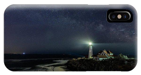 Milky Way At Portland Head Light IPhone Case