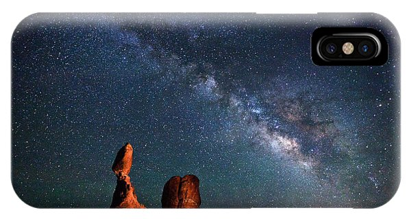 Light Paint iPhone Case - Milky Way Over Balanced Rock by Dan Norris